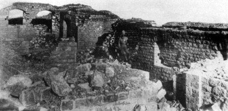 The burnt-out interior of Saragarhi where the bodies of 21 brave men of the 36th Sikhs were found on the 14th September after the seige on 12th