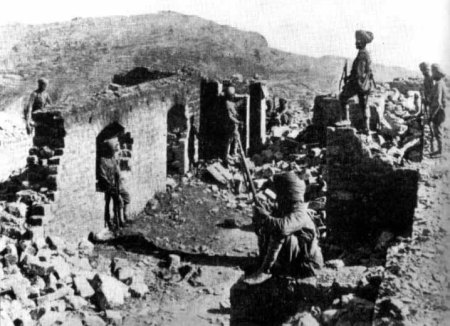 The ruins of the Saragarhi signal post, defended to the last by Havildar Ishar Singh and his 20 men of the 36th Sikhs. Fort Lockhart is on the skyline