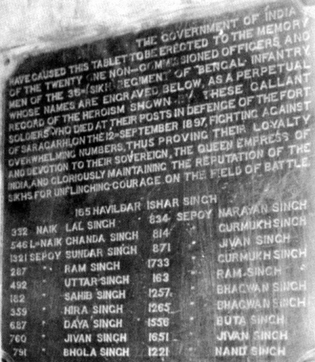 The inscription on the monument mentions the names of the 21 Sikhs who were killed while garrisoned in a little-known fort named Saragarhi Fort.